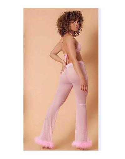 Mesh Capris Sexy New Mesh Trousers High Waist Slim Perspective Orange Fluffy Flare Pants Holiday Streetwear Pantalon Women P...