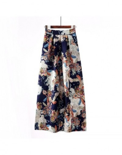 Floral Summer Skirts Womens 2019 Fashion Vintage Jupe Longue Femme High Waist Casual Long Maxi Elastic Skirt with Pockets Sw...