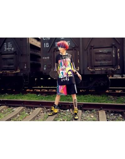 Kawaii harajuku Women Summer Harem shorts elastic waist Print Black Yellow Hip Hop Streetwear women cotton shorts - Multi - ...