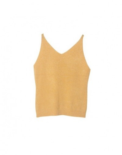 Sexy Women Fashion Knitting Vest Top Sleeveless V-Neck Blouse Casual Tank Tops Woman Summer Tops x - YELLOW - 54111219351084-11