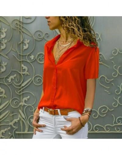 Summer Elegant Short Sleeve Women Tops Blouses Solid V-Neck Chiffon Blouse White Mujer Work Slim Shirt Plus Size 5XL Lapel B...