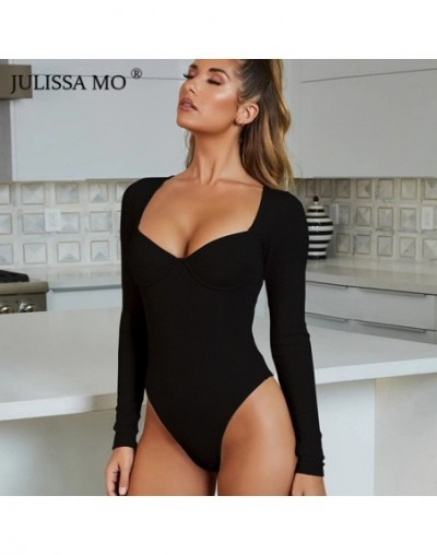 Rib Knitted Long Sleeve Bodysuit Women Tops Sexy V Neck Skinny Rompers Womens Jumpsuit 2019 Spring Casual Basic Body - Black...