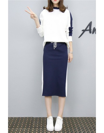 Women's 2 Piece Set Elegant Sporting Casual Side Striped Casual Pullover Top Elastic Waist Skirt Suit Plus Size Hots S87702F...