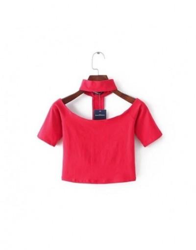 Women Slash Neck Off Shoulder Cotton Halter Choker Neckline long-sleeve Choker classic crop Top - red short sleeve - 4K36638...
