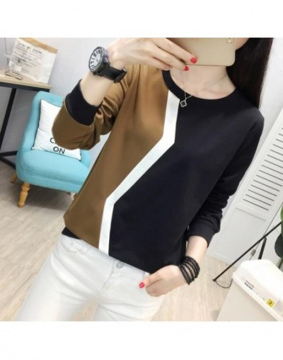 2019 fashion autumn Korean Women T Shirt Casual loose female long Sleeve T-shirt Patchwork sweatshirt tops plus size - 29yis...