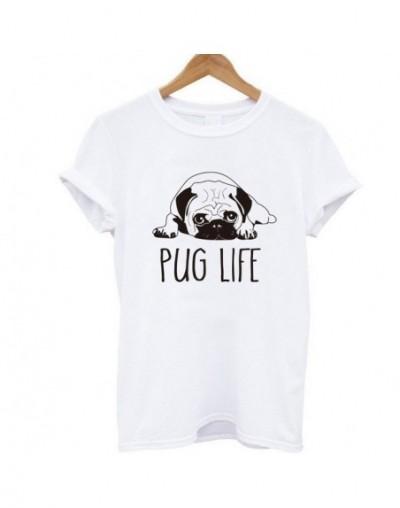 100% cotton women T shirt casual loose design o-neck women cute pug print T-shirt summer Tshirt cute Tee shirt - W BS - 4H39...
