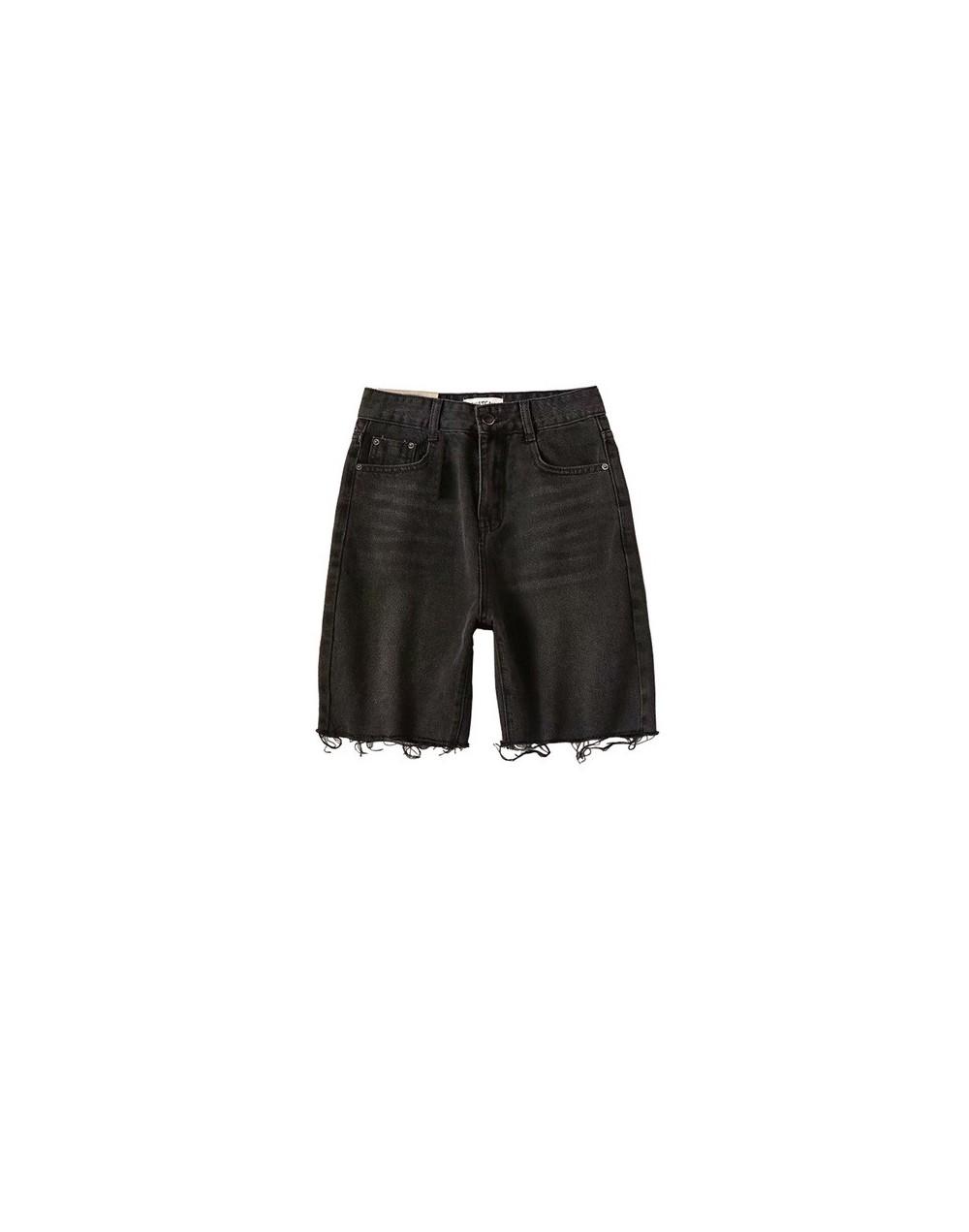 Summer Denim Biker Shorts Women High Waisted Jean Shorts Mid Thigh Bermuda Shorts Female - Black - 4J4142137629-1