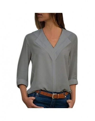 White Blouse Long Sleeve Chiffon Blouse Double V-neck Women Tops and Blouses Solid Office Shirt Lady Blouse Shirt Blusas Cam...