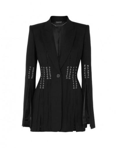 Spring Casual Women Blazer Lapel Long Sleeve Button Bandage Split Slim Black Female Coat 2019 Fashion Clothes - black - 4C41...