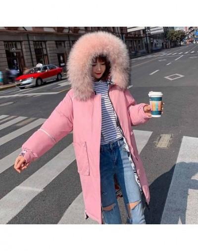2019 New Full Women Winter Jacket Hood Design Thick Coat Cotton Parka Style Jackets Fur Collar BLueY170016 - pink - 5J111154...