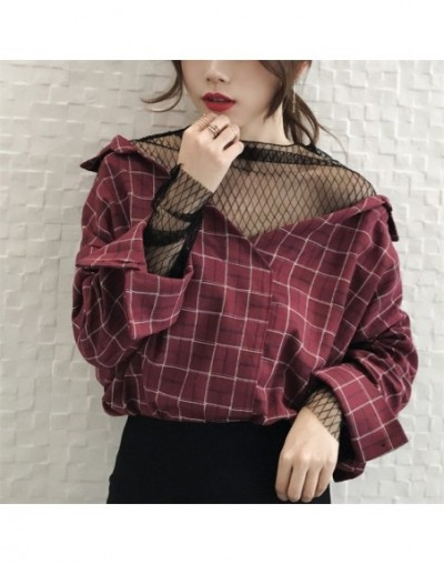 Fashion Preppy Style Mesh Patchwork Ladies Blusas 2019 Hot Sale V-Neck Fake Two-Piece Shirts Casual Loose Blusa Women 64812 ...
