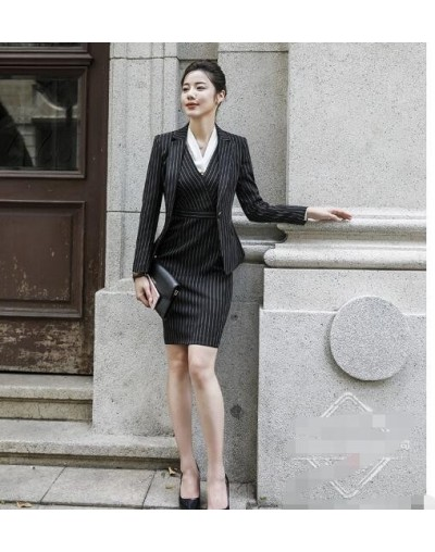 2019 Long Sleeve V neck Slim blazer and skirt suit Autumn women's clothes A dress with a coat Women's suit Stripe agitator 8...