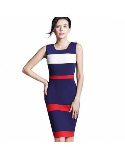 Summer Office Lady Illusion Patchwork Fitted Dress Casual O Neck Sleeveless Zip Back Dark Blue Chic Work Dress b275 - Dark b...