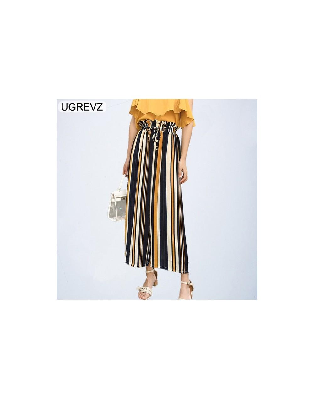 2018 New Ruffle Waist Striped Wide Leg Pants Summer Elastic Waist Belted Bow Loose Long Trousers Women High Waist Pants - WK...