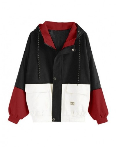 Women Long Sleeve Corduroy Patchwork Oversize Jacket Windbreaker Coat Overcoat Hooded Pockets pockets windbreaker jacket wom...