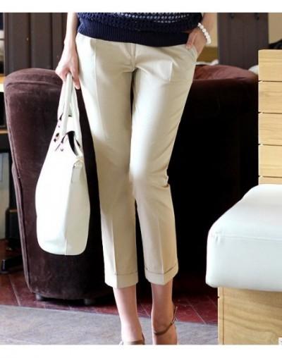 New 2019 Spring summer women plus size pants capris fashion slim capris high waist pants casual pants women - Khaki - 267426...