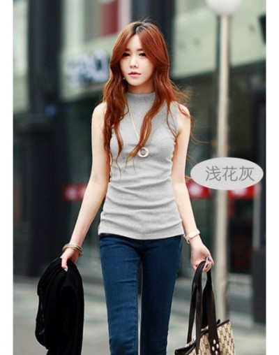 women Summer style sleeveless solid color Blouses & Shirts cotton Shirts women lady Vest 10 colors - Gray - 413740493137-4
