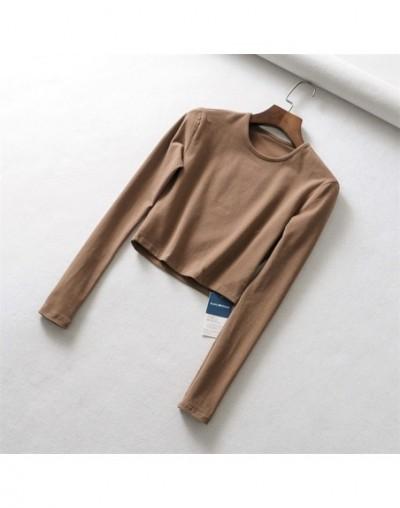 Women Slim Long Sleeve Fit Crop Tee - camel - 453069666052-3