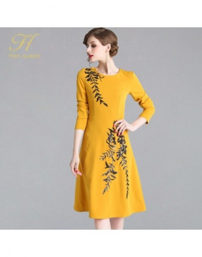 New Europe 2019 Spring Casual Embroidery Beads Dress Elegant O-Neck Runway Vintage Female Slim Party Dresses - yellow - 4F30...