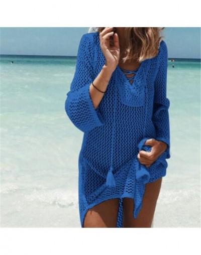 Beach Dress 2019 Crochet Tunic Women Summer Dresses Solid Sexy Hollow Out Casual Dress Plus Size Tunic Bohemian Dresses N188...