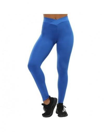 Women Sporting Push Up Leggings Fashion High Waist Fitness Leggins Spandex Stretch Leggings Women Pants - Solid Blue - 4W394...