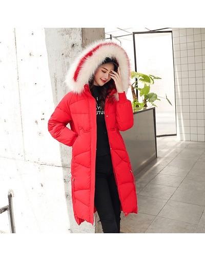 2019 Fur Hooded Winter Jacket Women Red Thick Parka Female Dobby Long Winter Coat Women Down Cotton Lady Wadded Jacket Coat ...
