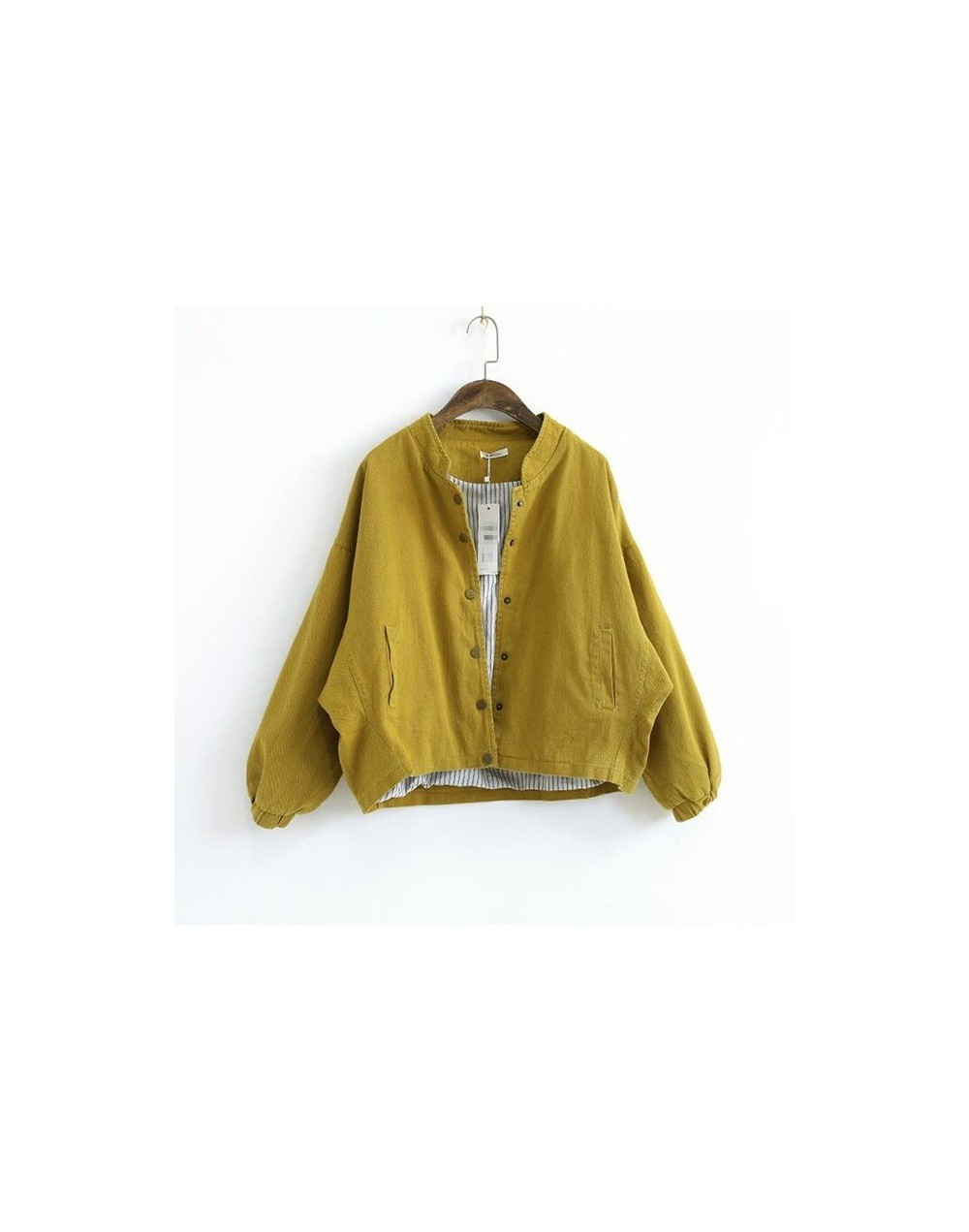 Women Jacket 2018 Autumn Winter Solid Color Long Sleeve Cotton Loose Single Breasted Casual Coat Clothing Women Tops - Yello...