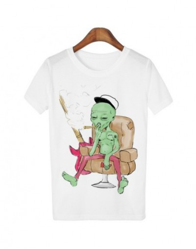 New Women Tshirt 18 Style Smoking Alien Print Funny Casual ET T-shirt For Lady White Plus Size Top Tees Hipster - U16 - 4X36...