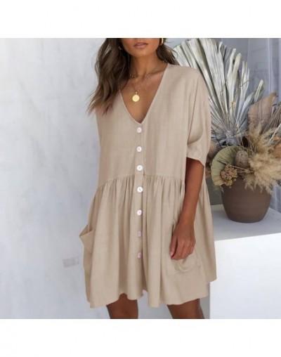 Female Summer Dress V Neck A Line Women Tunic With Pockets Half Sleeve Shift Mini Beach Wear Button Casual Dress - Khaki - 4...