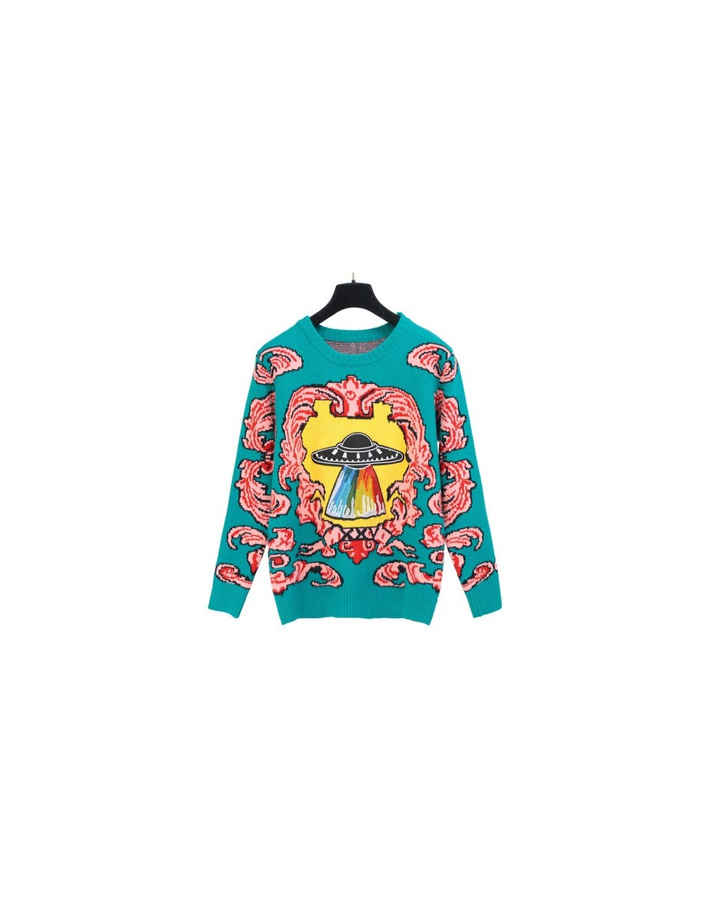 Women New vintage warm sweaters UFO Clouds Jacquard pullovers winter autumn knitted retro loose tops blusas C-012 - as pictu...