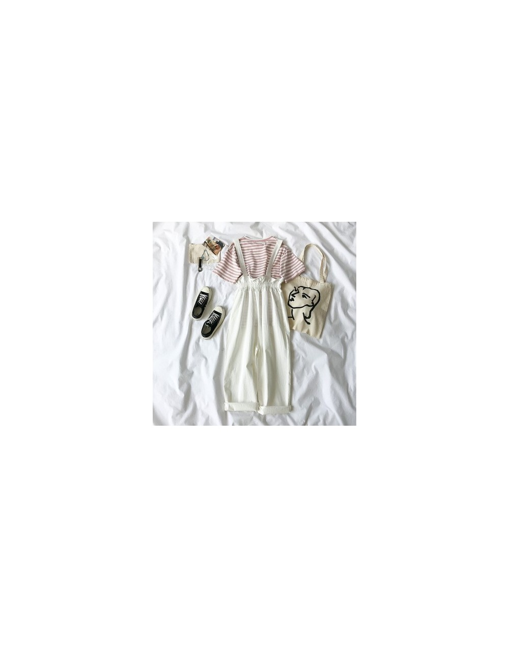 2 piece set women Summer Pants Set Women Striped T-shirt + Fashion Overall White Khaki Pants Outfits For Women Casual plus s...