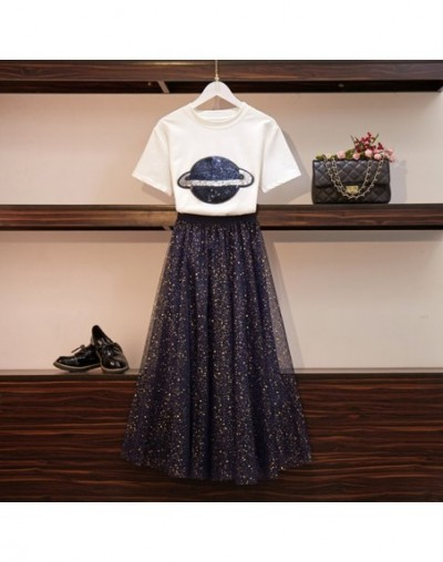 2019 Summer Suit Set Women Short Sleeve Sequined Planet T-Shirt Top + Gilding Sequins Mesh Maxi Skirt Set Runway Two-piece S...