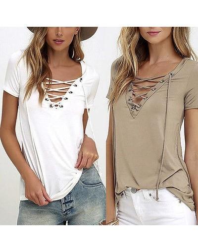 Trendy T-Shirt V-neck Criss Cross Women T Shirt Summer Style Short Sleeve Tops Hollow Out Top femme top tee tshirt - Khaki -...
