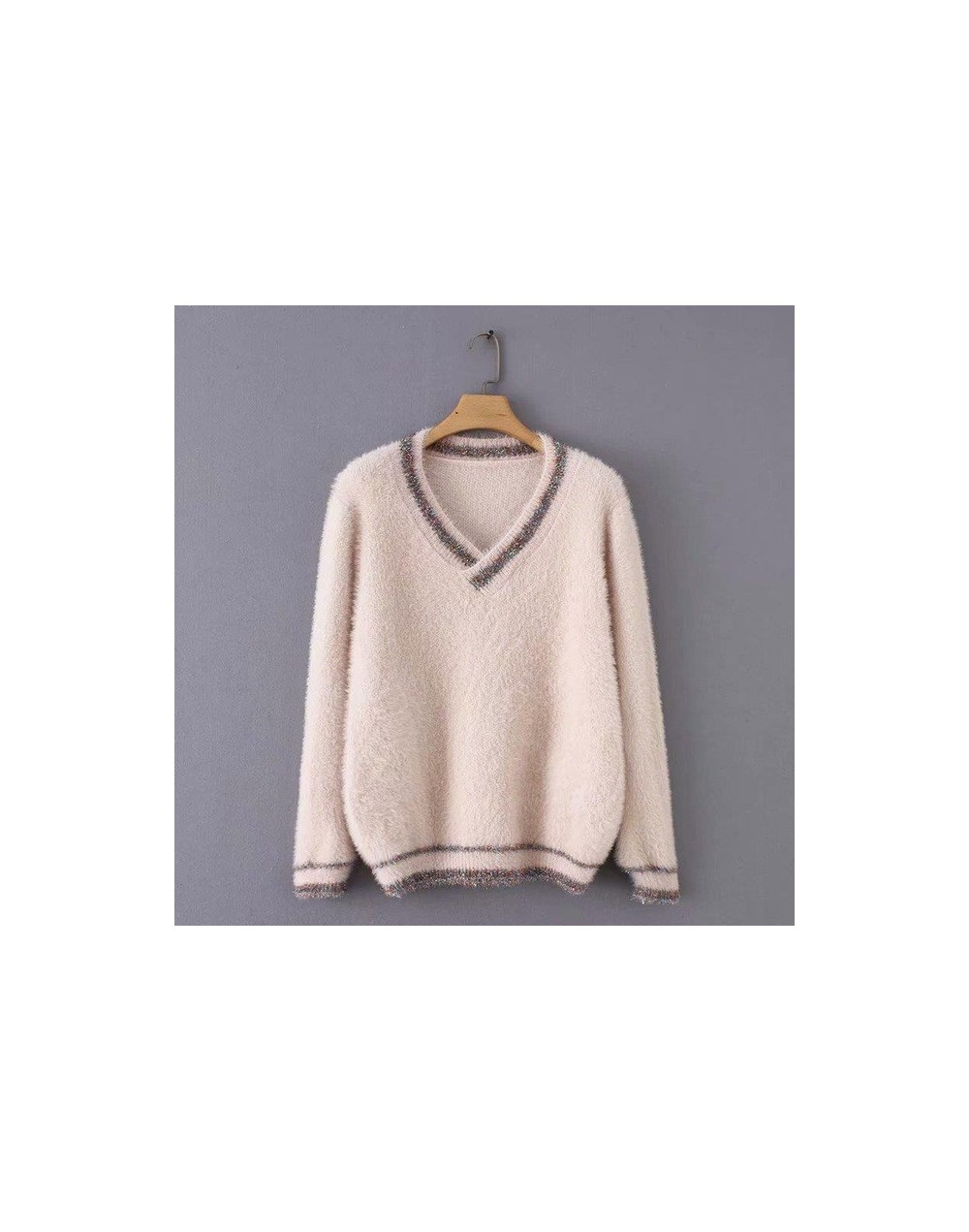 2019 New Women Vintage Kinitted Fake Mink Cashmere Sweaters Lady Fashion Autumn Winter Warm V-neck Short Soft Mohair Pullove...