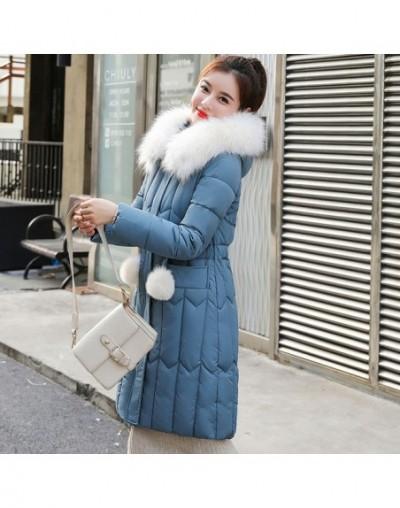Winter Women long parkas jackets Plus size M-5XL thick warm big fur collar female Slim sintepon parkas outwear coat - Blue -...