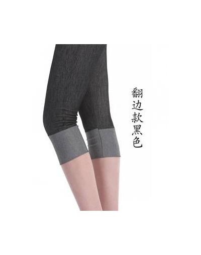 lady summer imitation denim short pants women knee length patchwork bow floral lace capris slim fitted pencil fake jeans - b...