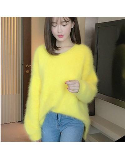 New Fashion Women Fluffy Mink Cashmere Round Neck Loose Fashion Warm Mink Cashmere Sweater Women Thicken Long Sleeve Sweater...