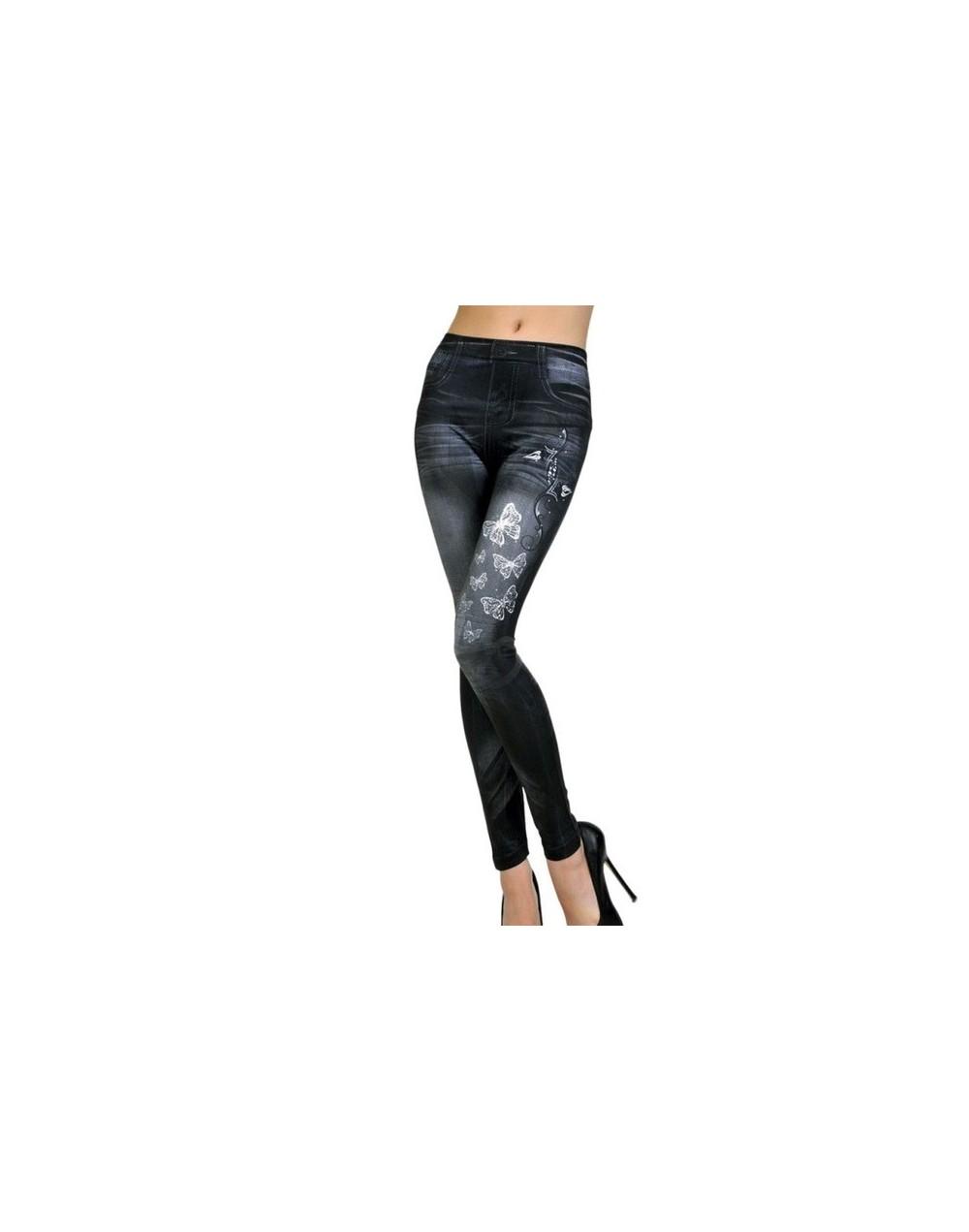 Sexy Stretchy Slim Leggings Women Denim Jeggins Skinny Embroidery Butterfly/Stars Denim Pants - Butterfly black - 4730888344...