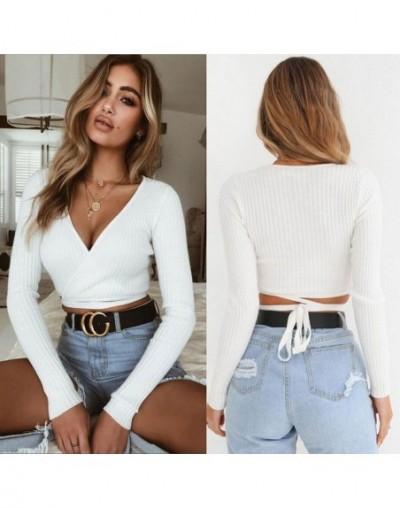 2018 Summer Women Slim T-shirt Black White Khaki Long Sleeve T shirt Cross V-neck Sexy Crop Top - White - 4I3016291156-3