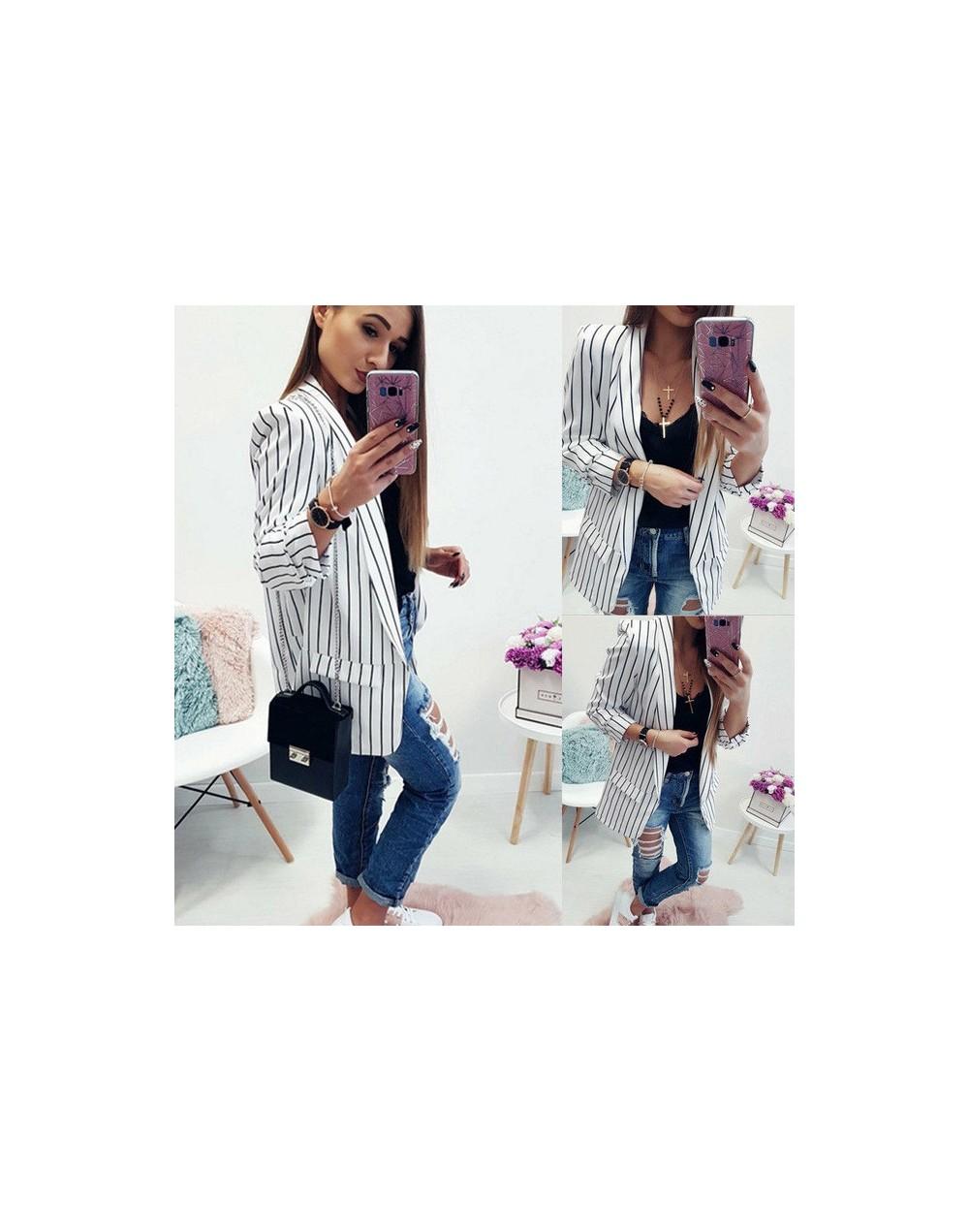 2019 Autumn Women Suit Coat Women Long Sleeve Waterfall Sweater Jumper Jacket Loose Coat Outwear - White - 4R3003211447-2