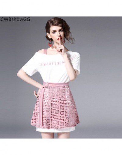 Small fragrance short-sleeved strapless T-shirt 2019 spring and summer lace ladies suit hollow out skirt two-piece - Pink - ...