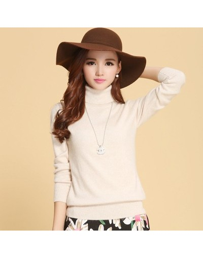 autumn winter cashmere sweater female pullover high collar turtleneck sweater women solid color lady basic sweater - Beige -...