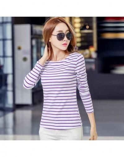 Cotton T-shirt Women 2019 New Autumn Long Sleeve O-Neck Striped Female T-Shirt White Casual Basic Classic Tops 620 - purple ...