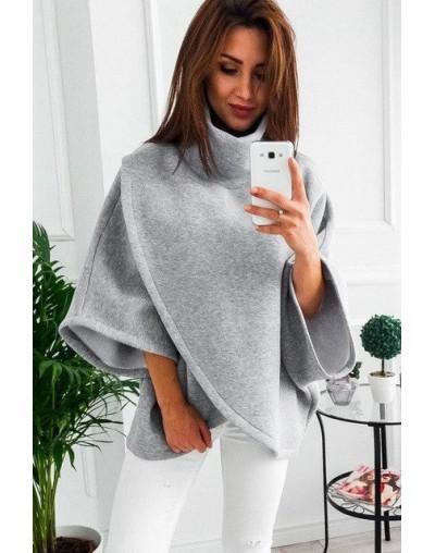 Women Autumn Winter Warm Hoodies Solid Turtleneck Oversized Tops Moda Mujerr Sweatshirt Female Casual Loose Batwing Cuffs Fe...