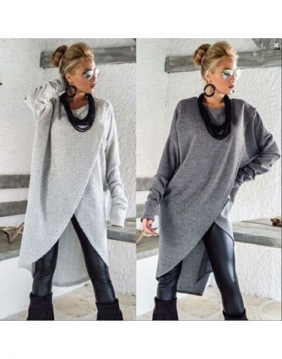 Casual Women Knitted Long Shirt Front Cross Loose Long Sleeve T Shirt Ladies Solid Jumper Pullover Tops - Gray - 4Y3957505232-1