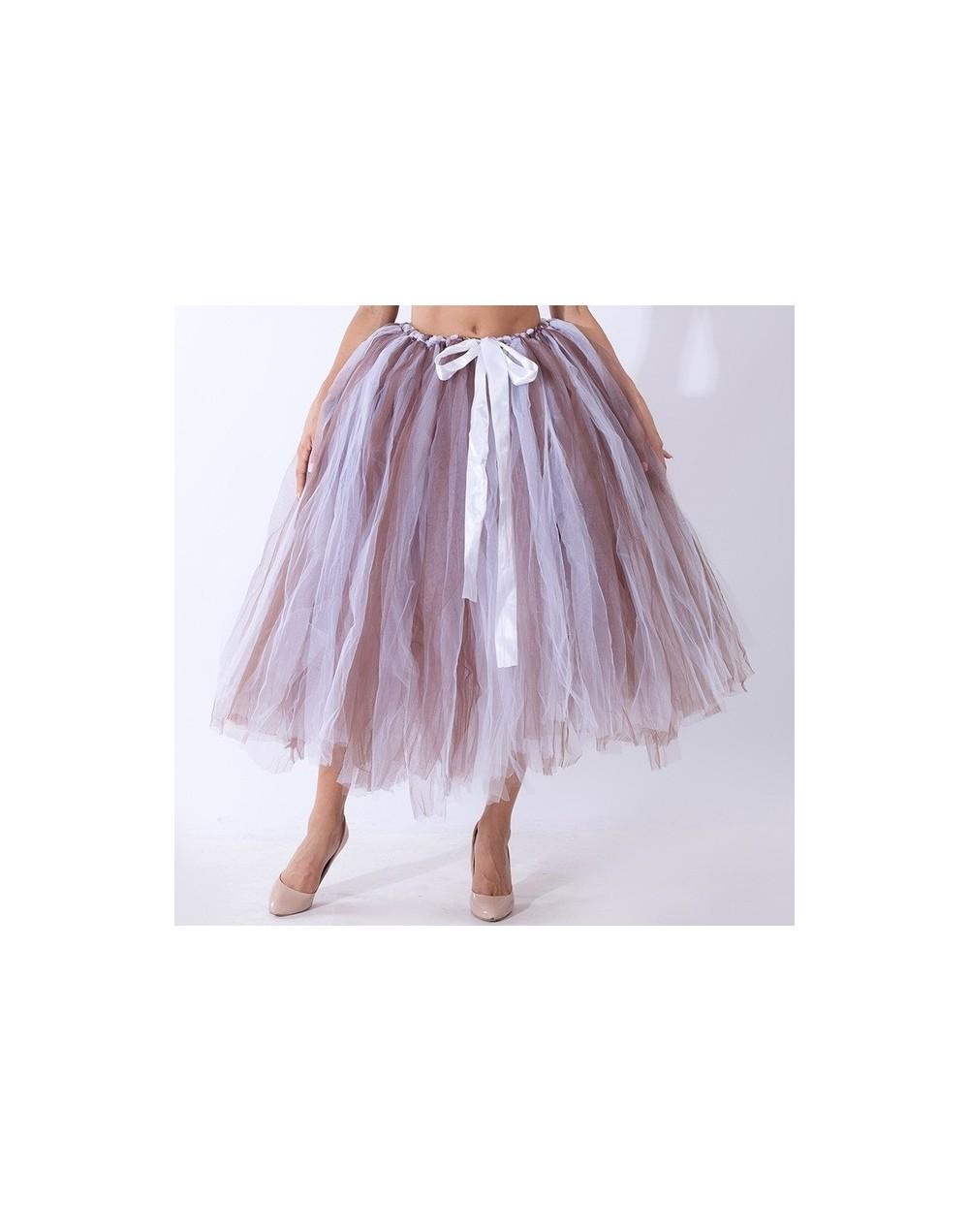 Handmade 80CM Midi Tulle Tutu Skirts for Women High Quality Ball Gown Skirt Party Props Petticoat 2019 Faldas Saia Jupe - co...