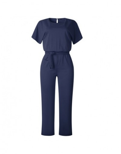 Short Sleeve 2019 New Women Jumpsuit Solid Back Button Bodysuits Womens Casual Spring Summer Overalls Female Jumpsuits - dar...