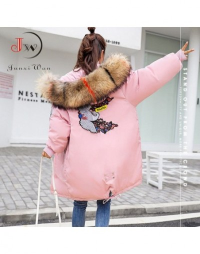 Winter Coat Women Large Fur Collar Hooded Long Jacket Thicken Warm Padded Parkas Oversized Down Cotton Parka chaqueta mujer ...