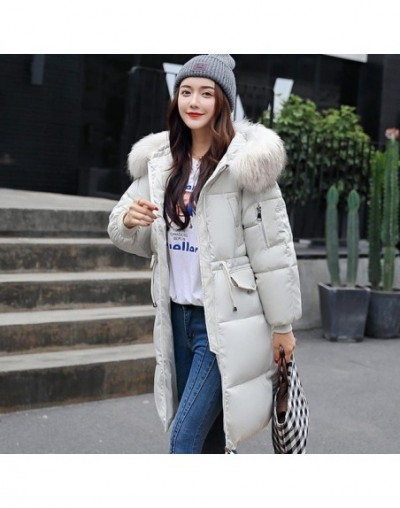 New Winter Women Cotton Jacket Coat Hooded Warm Large Fur Collar Long Snow Parkas Female Thick Army Green Outerwear - Beige ...