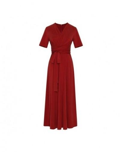 Elegant Solid Midi Dress For Women V Neck Short Sleeve High Waist Bandage Slim Dresses Female Fashion 2019 Summer - red - 48...
